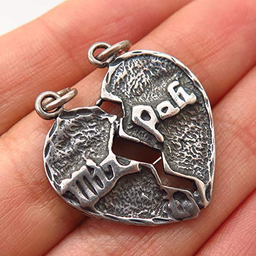 925 Sterling Silver Vintage Shube Mizpah Judaica Heart Design Charm Pendant Jewelry Making Supply by Wholesale Charms
