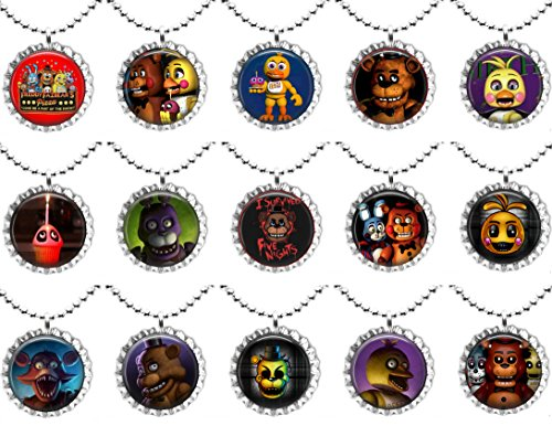 15 FIVE NIGHTS AT FREDDYS Flat Bottle Cap Necklaces for Birthday, Party Favors, Bag Fillers A1