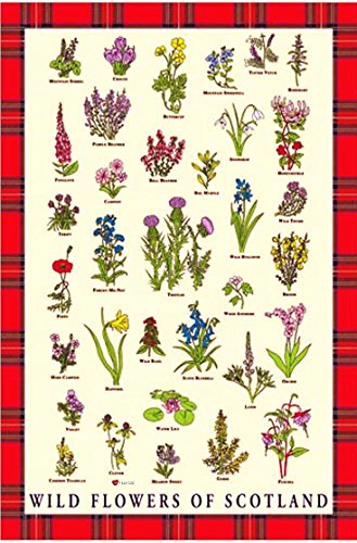 Tea Towel with Scottish Wild Flowers and Red Scottish Tartan