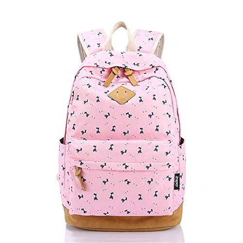 Korean Style Canvas Animal Print Casual Daypack College Student Satchels, Pink