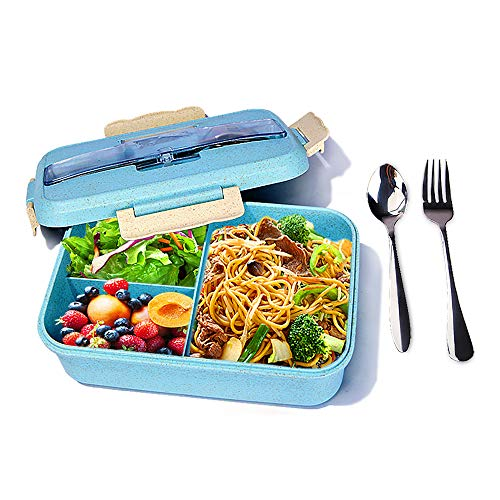 Bento Box for Kids, Students & Adults, Lunch Box With 3 Compartments, Healthy BPA Free, Durable, Reusable, Microwave Dishwasher Safe,Blue (Fork & Spoon INCLUDED)