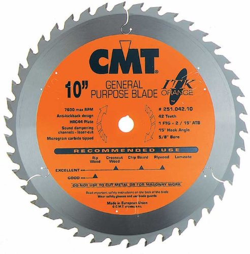 (CMT 251.042.10 ITK General Purpose Saw Blade, 10-Inch x 42 Teeth 1FTG+2ATB Grind with 5/8-Inch Bore)