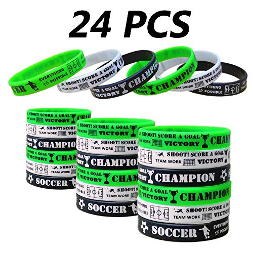 24 PCS Soccer Motivational Silicone Wristband for Kids - Personalized Silicone Rubber Bracelets - Sports Prizes - Party Favors and Supplies - Birthday Party Goodie Bag Stuffers - Carnival/Events
