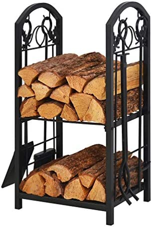 PATIO WATCHER Firewood Rack Log Rack with 4 Tools Firewood Storage Log Holder for Indoor Outdoor Backyard Fireplace Heavy Duty Steel Black