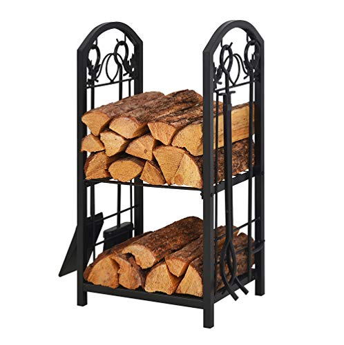 Patio Watcher Firewood Rack Log Rack with 4 Tools Firewood Storage Log Holder for Indoor Outdoor Backyard Fireplace Heavy Duty Steel Black ()
