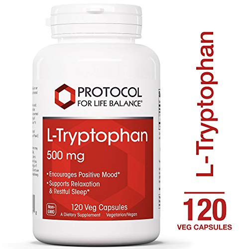- Protocol For Life Balance - L-Tryptophan 500 mg - Supports Relaxation, Encourages Positive Mood, and Promotes Restful Sleep with Essential Nutrients - 120 Veg Capsules
