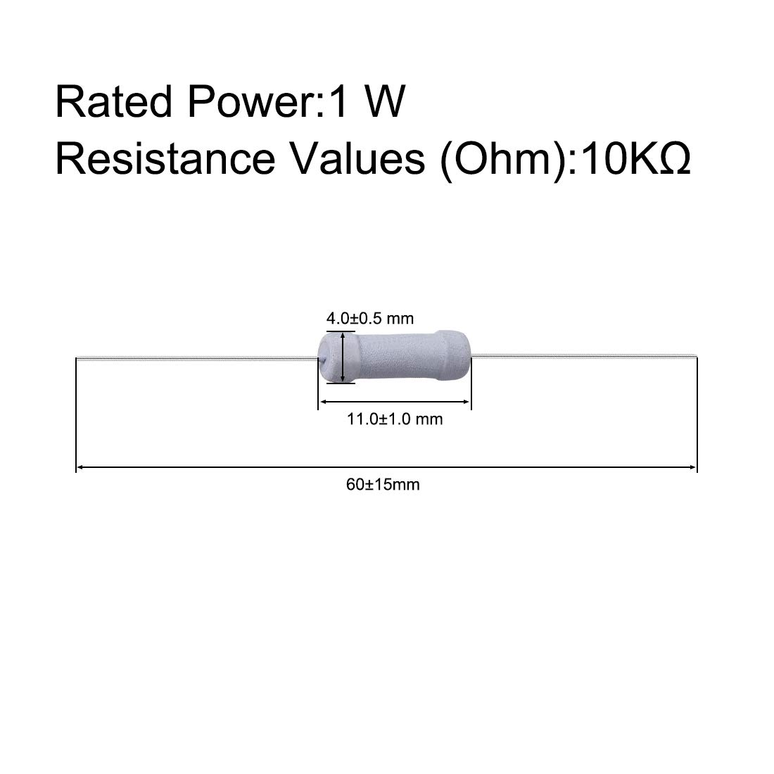 sourcing map 100 piezas 1W 1 vatio Resistencia de pel/ícula de /óxido de metal Plomo axial 10K Ohm /± 5/% de tolerancia