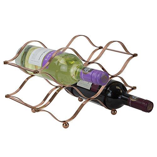 Home Basics 6 Bottle Foldable Wine Rack Storage Holder, Copper