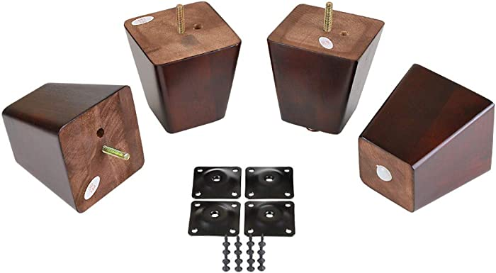 "ProFurnitureParts 4"" Inch Dark Cherry Finish Square Tapered Wood Sofa Legs W/ Leg Plates"