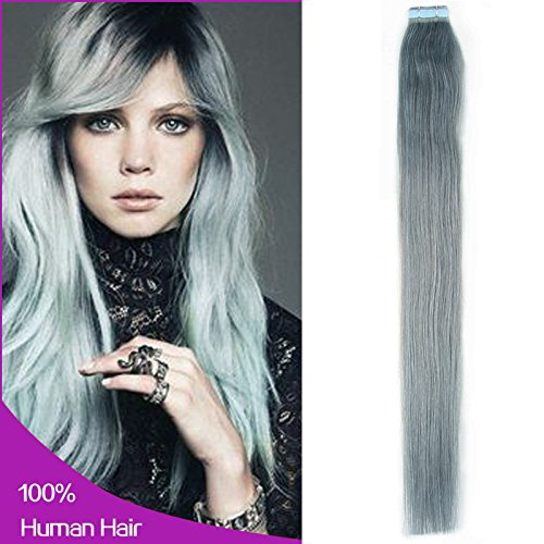 Amazon new arrival straight tape in remy human hair amazon new arrival straight tape in remy human hair extensions 100 real human hair gray hair extensions 20 inch silver gray beauty pmusecretfo Images
