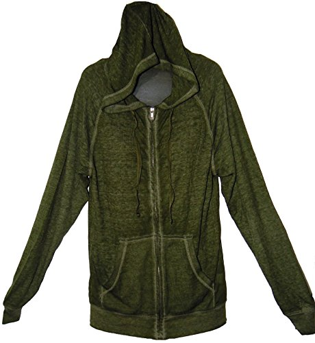 Ocean Blue Lightweight Cotton Blend Front Zippered Hooded Hoodie Jacket (Large, Army Green) (Zippered Sweatshirt Army)
