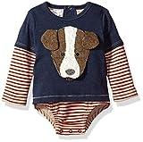 Mud Pie Baby Boys' Puppy Long Sleeve Layered Crawler, Blue, 6-9 MOS