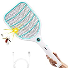 ZOMAKE Bug Zapper Racket,Rechargeable Mosquito Fly Killer and Bug Zapper Swatter,3000 Volt,Bright LED Light,Unique 3-Layer Safety Mesh That's Safe to Touch