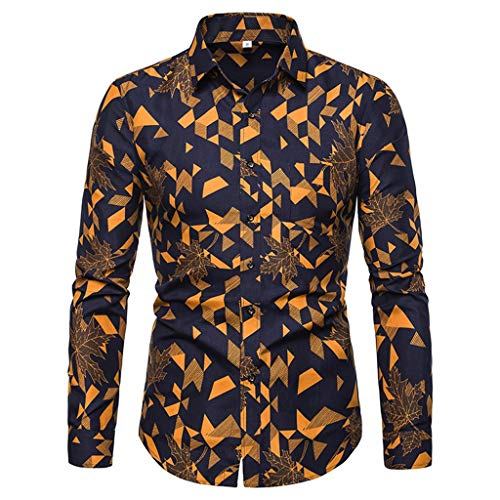 iHPH7 Dress Shirt Slim-Fit Wrinkle-Resistant Long-Sleeve Printed Shirts Slim Comfortable Shirt Men (XXL,5- Yellow)]()