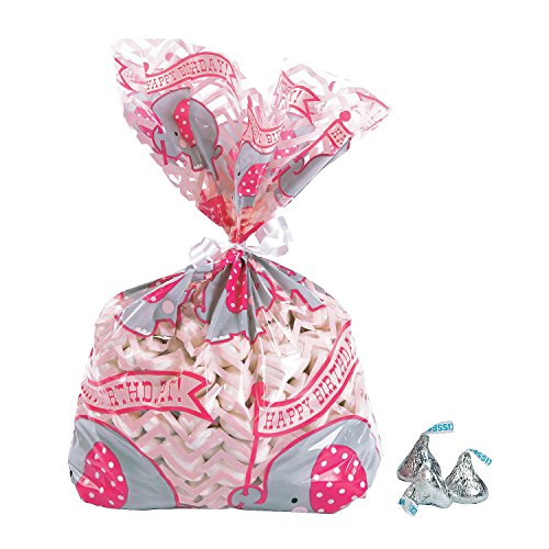Fun Express - 1st Pink Elephant Cello Bags for Birthday - Party Supplies - Bags - Cellophane Bags - Birthday - 12 Pieces