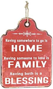 Young's Home Family Blessing Red Tin Pressed Wall Sign, 20-Inch
