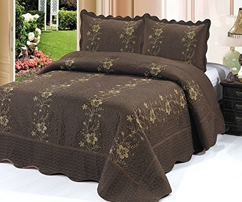 Homemusthaves-3 Piece Quilted Bedspread Brown Quilt Sham Floral New (Cal King) (King Quilt Brown)