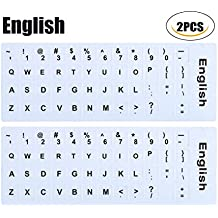(2PCS PACK)English Keyboard Stickers, Keyboard Replacement Letters English White Background with Black Lettering for Laptops Computer(English-White-Background)