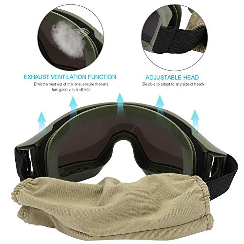 Alomejor Lunettes de Tactique Lunettes de Protection Anti-buée Anti-buée Avec 3 Lentilles de Spectacle De protection… 4
