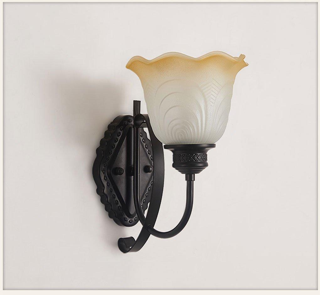 Wandleuchte, Amerikanischen Einfache wandleuchte schlafzimmer schlafzimmer schlafzimmer Nachttischlampe Eisen kunst Retro glas wandleuchten wohnzimmer TV hintergrund wandleuchte E14 (Farbe   Single) 8be925