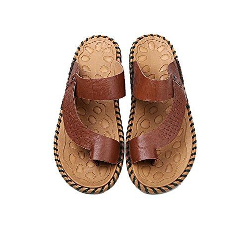 HanWay H&W Mens Real Leather Summer Flip Flops Soft Anti-Skid Soles Brown 7AAwml