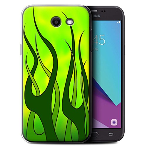 - STUFF4 Gel TPU Phone Case / Cover for Samsung Galaxy J3 2017/J327 / Green/Lime Design / Flame Paint Job Collection