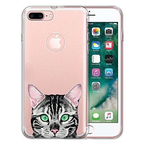 Silver Cats Spotted - FINCIBO Case Compatible with Apple iPhone 7 Plus / 8 Plus, Clear Transparent TPU Protector Case Cover Soft Gel for iPhone 7 Plus / 8 Plus (NOT FIT iPhone 7/8) - Spotted Silver Bengal Kitten Cat