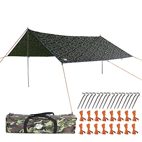 Anyoo 13 × 13 Ft Camping Tarp Shelter Lightweight Hammock Rain Fly Waterproof Durable Portable Compact Including Poles and Stakes All Purpose for Camping Fishing Beach Picnic