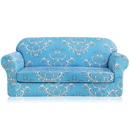 - TIKAMI 2-Piece Sofa Slipcovers Printed Floral Stretch Spandex Couch Covers Washable Furniture Protector for Living Room(Sofa,Blue)