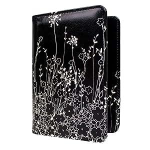 WALNEW RFID Blocking Passport Holder Cover Case Travelling Passport Cards Carrier Wallet Case,Black Flowers
