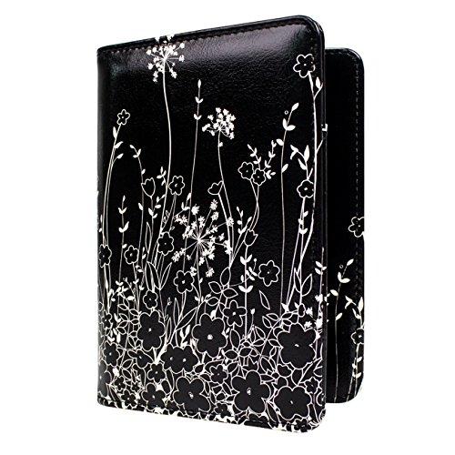 WALNEW Passport Holder Cover RFID Blocking Case Travelling Passport Cards Carrier Wallet Case (Black Flowers)