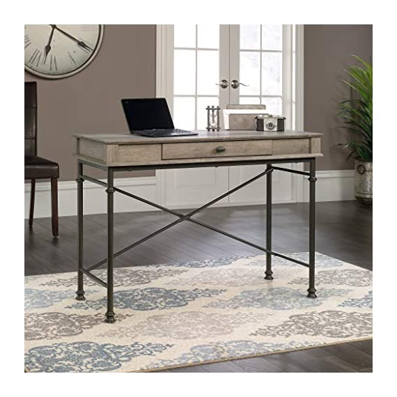 Sauder Canal Street Console Desk, Northern Oak finish - Drawer with flip-down front features full extension slides Finished on all sides for versatile placement Decorative, powder coated metal frame - writing-desks, living-room-furniture, living-room - 51cbJx5xarL. SS570  -