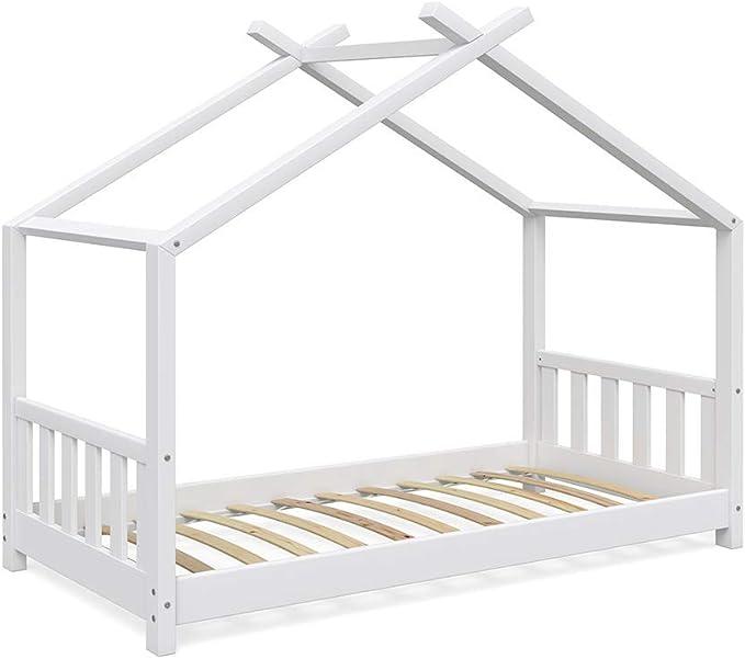 Vicco - Cama Infantil (80 x 160 cm, Madera, Incluye somier y Rejilla de protección), Color Blanco: Amazon.es: Hogar