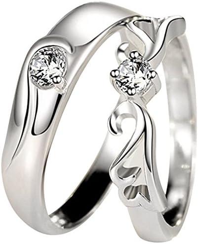 愛の証 ペアリング ジュエリーレディースリング 純銀指輪 メンズリング キラキラ 天使の羽 結婚 婚約指輪 サイズが自由に調整できる (個別販売)
