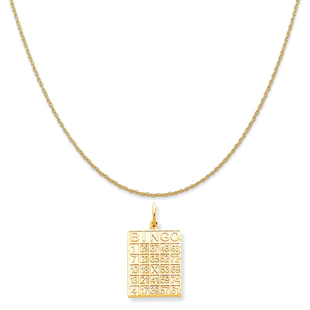 10k Yellow Gold Solid Bingo Card Charm on a 14K Yellow Gold Rope Chain Necklace, 16''