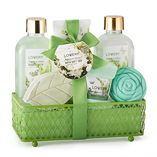 Valentines-Spa-Gift-Basket-Magnolia-Tuberose-Fragrance-Luxurious-7-Piece-Bath-Body-Set-For-WomenMen-Contains-Shower-Gel-Bubble-Bath-Body-Lotion-Bath-Soap-Bath-Fizzer-Towel-Wired-Basket