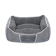"Pecute Deluxe Pet Bed for Cats and Small Medium Dogs Rectangle Cuddler with Soft Detachable Cushion Grey (S 19.7"" x 17"" x 7"")"