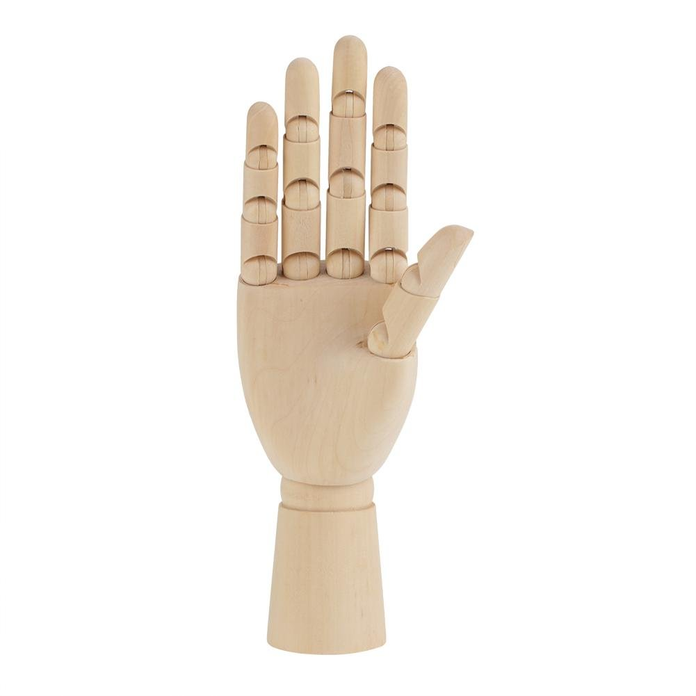 Adjustable Art Wooden Mannequin Hands Artist Jointed Articulated Flexible Fingers Wood Hand Model for Drawing Sketching Display Baby Right Hand 7 Inches