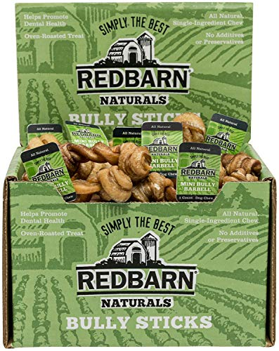 - REDBARN Bully Stick Barbell Dog Chews, Mini, Naturals, 75 Count, 2 Pack