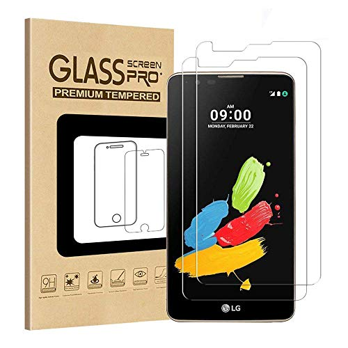 [2 Pack] GreenElec LG G Stylo 2 Tempered Glass Screen protector 0.3mm [9H Hardness] [Anti-Scratch] [Anti-Bubble] [No-Bubble] [Case Friendly] for LG G Stylo 2 / LG Stylus 2 / LS775