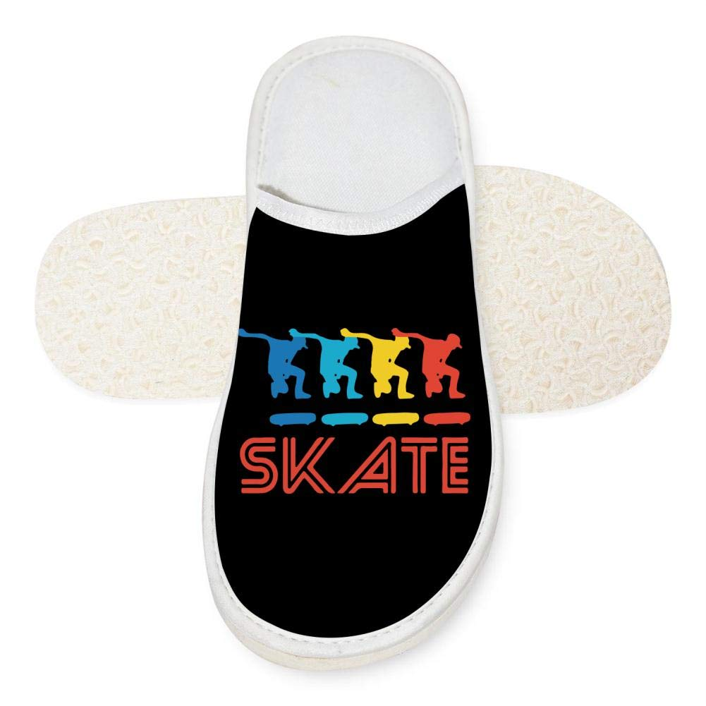 KOUY Skater Retro Pop Art Skateboarding Closed Toe Cotton Slippers Warm Soft Indoor Shoes Non-watertight