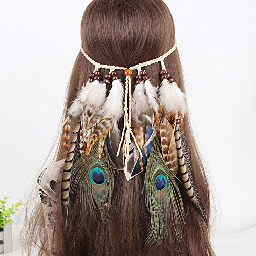 A&C Indian Natural Peacock Feather Headband and Headpiece for Women, Fashion Head Chain and Headpiece for - Princess Indian Head