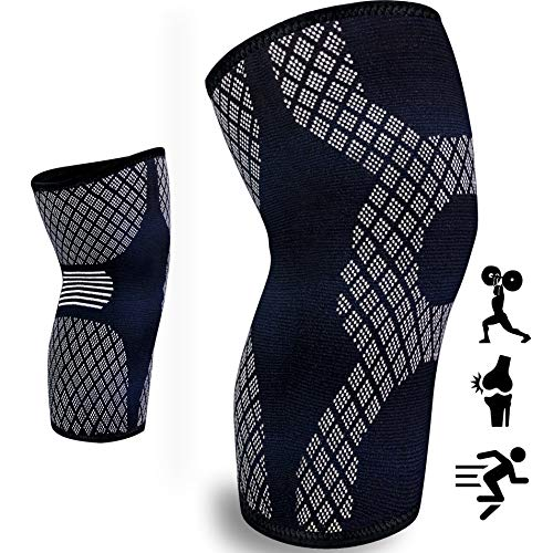 aZengear Compression Knee Sleeve - Strong Knee Brace - Knee Support for Meniscus Tear, Arthritis, Squats, Running, ACL, MCL, Weightlifting, Joint Pain (Black & White - M)