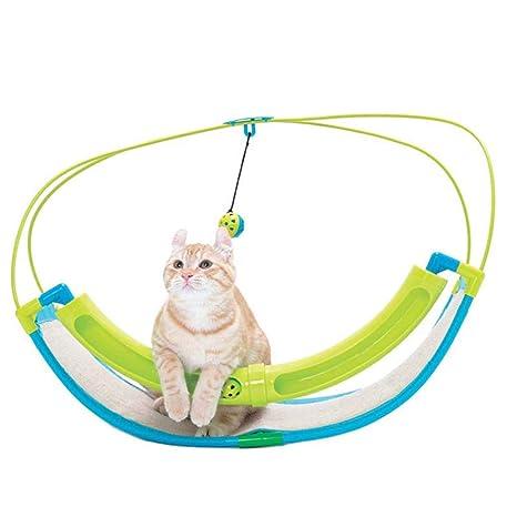 GLMAMK Artículos para Mascotas, Soporte de la Pista Gato salón, Bell Swing Rocking Cat