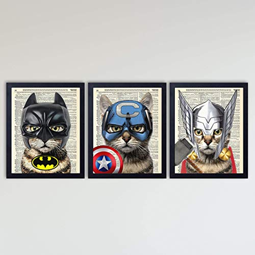 Super Hero Cat 3 Piece Set - Batman, Captain America & Thor Cat Art Prints - Kids Bedroom Decor on Vintage Dictionary Book Pages - Fun Children's Room Decor - 8x10 inches each, Unframed