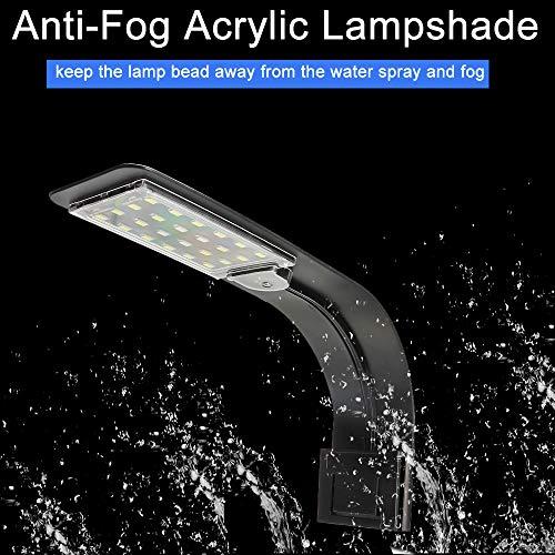 Senzeal X5 Virgo 24 LED Aquarium Light 10W Clip-on Lamp Aquatic Plant Lighting for 10-15inch Fish Tank (Black)