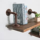 KINGSO 17x12cm Industrial Brown Iron Pipe Shelf Bracket, Mounted Floating Wall Shelf, Wall Hanging Hardware Support, Retro Steampunk Decor for Home and Store