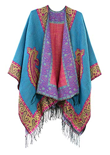 (Women's Fashionable Retro Style Vintage Pattern Tassel Poncho Shawl Cape (series 2-Blue))