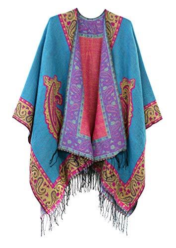 Women's Fashionable Retro Style Vintage Pattern Tassel Poncho Shawl Cape (series 2-Blue) ()