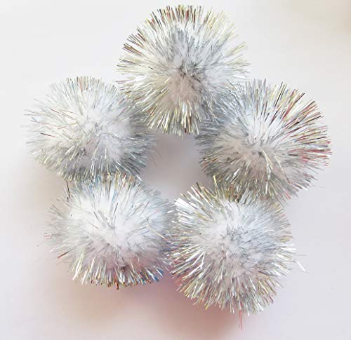 YYCRAFT 30pcs Large Glitter Tinsel Pom Poms Sparkle Balls for DIY Craft,Cat Toys-White(1.5